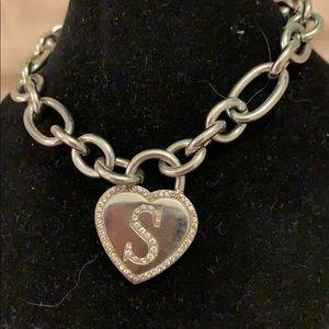 """Vintage Stainless Steel """"S"""" Initial Bracelet"""